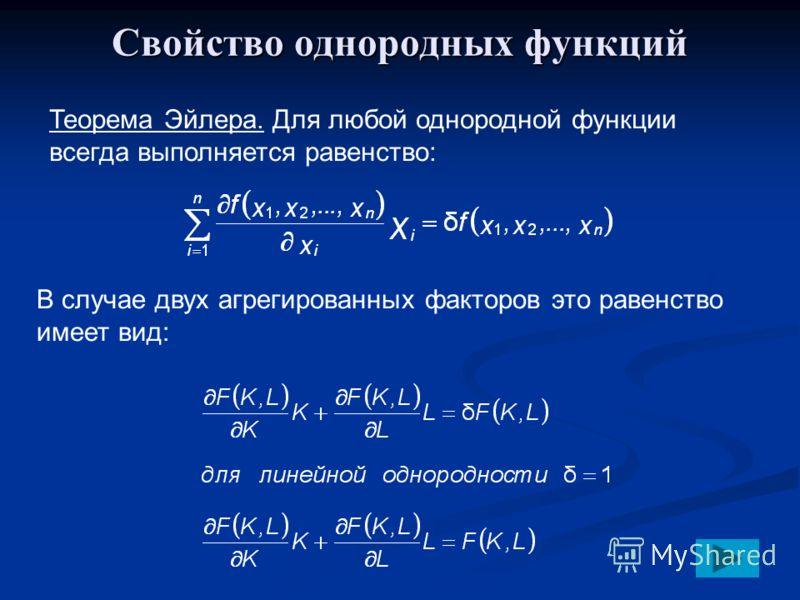 Свойство однородных функций Теорема Эйлера. Для любой однородной функции всегда выполняется равенство: В случае двух агрегированных факторов это равенство имеет вид: