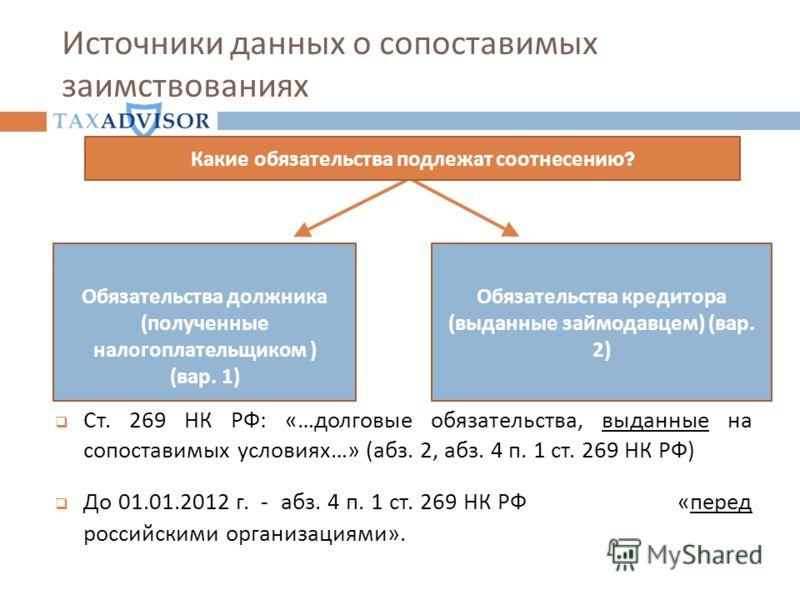 Источники данных о сопоставимых заимствованиях Обязательства кредитора ( выданные займодавцем ) ( вар. 2) Обязательства должника ( полученные налогоплательщиком ) ( вар. 1) Какие обязательства подлежат соотнесению ? Ст. 269 НК РФ: «…долговые обязател