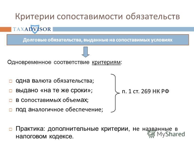 Критерии сопоставимости обязательств одна в алюта обязательства; выдано «на те же сроки» ; в с опоставимы х объем ах ; под а налогичное обеспечение; Практика: дополнительные критерии, н е названные в налоговом кодексе. п. 1 ст. 269 НК РФ Долговые обя
