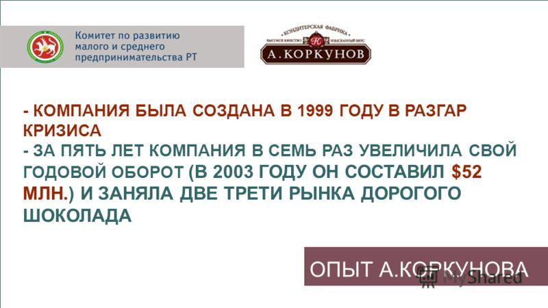 ОПЫТ А.КОРКУНОВА - КОМПАНИЯ БЫЛА СОЗДАНА В 1999 ГОДУ В РАЗГАР КРИЗИСА - ЗА ПЯТЬ ЛЕТ КОМПАНИЯ В СЕМЬ РАЗ УВЕЛИЧИЛА СВОЙ ГОДОВОЙ ОБОРОТ (В 2003 ГОДУ ОН СОСТАВИЛ $52 МЛН.) И ЗАНЯЛА ДВЕ ТРЕТИ РЫНКА ДОРОГОГО ШОКОЛАДА