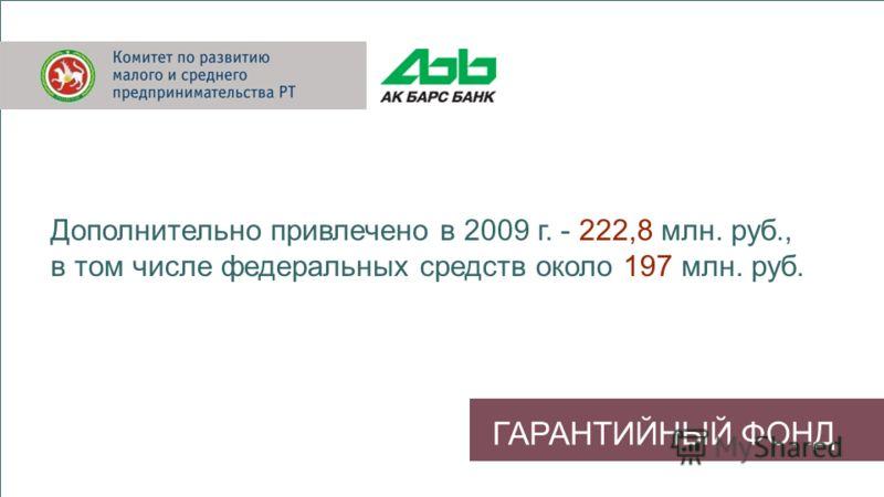 ГАРАНТИЙНЫЙ ФОНД Дополнительно привлечено в 2009 г. - 222,8 млн. руб., в том числе федеральных средств около 197 млн. руб.