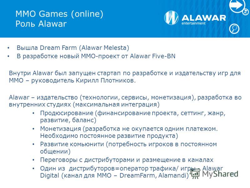 MMO Games (online) Роль Alawar Вышла Dream Farm (Alawar Melesta) В разработке новый MMO-проект от Alawar Five-BN Внутри Alawar был запущен стартап по разработке и издательству игр для MMO – руководитель Кирилл Плотников. Alawar – издательство (технол