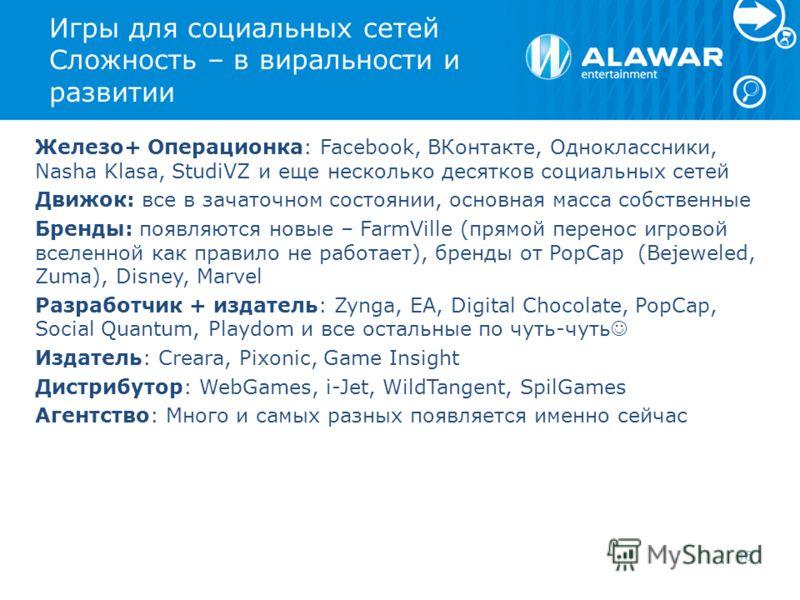 Игры для социальных сетей Сложность – в виральности и развитии Железо+ Операционка: Facebook, ВКонтакте, Одноклассники, Nasha Klasa, StudiVZ и еще несколько десятков социальных сетей Движок: все в зачаточном состоянии, основная масса собственные Брен