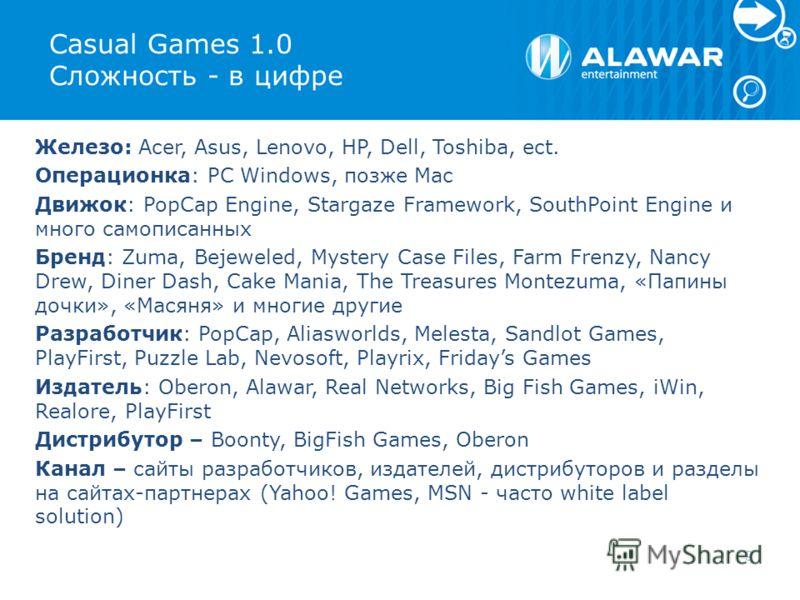 Casual Games 1.0 Сложность - в цифре Железо: Acer, Asus, Lenovo, HP, Dell, Toshiba, ect. Операционка: PC Windows, позже Mac Движок: PopCap Engine, Stargaze Framework, SouthPoint Engine и много самописанных Бренд: Zuma, Bejeweled, Mystery Case Files,