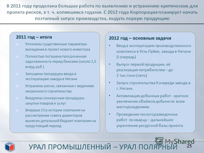 2011 год – итоги Уточнены существенные параметры вхождения в проект нового инвестора Полностью погашена просроченная задолженность перед банками (около 1,5 млрд.руб.) Запущены процедуры ввода в эксплуатацию завода в Нягани Устранены риски, связанные