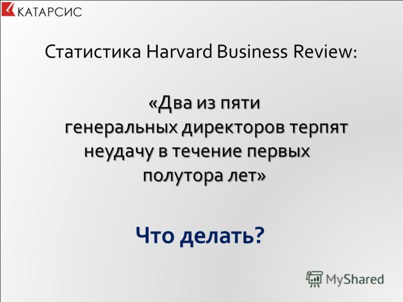 Что делать? Статистика Harvard Business Review: «Два из пяти генеральных директоров терпят неудачу в течение первых генеральных директоров терпят неудачу в течение первых полутора лет»