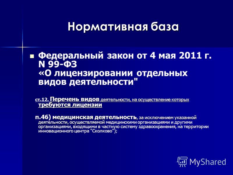Нормативная база Федеральный закон от 4 мая 2011 г. N 99-ФЗ «О лицензировании отдельных видов деятельности