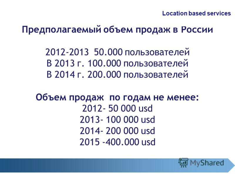 Предполагаемый объем продаж в России 2012-2013 50.000 пользователей В 2013 г. 100.000 пользователей В 2014 г. 200.000 пользователей Объем продаж по годам не менее: 2012- 50 000 usd 2013- 100 000 usd 2014- 200 000 usd 2015 -400.000 usd Location based