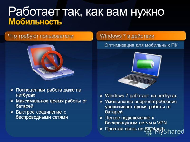 Мобильность Мобильность Windows 7 работает на нетбукахWindows 7 работает на нетбуках Уменьшенно энергопотребление увеличивает время работы от батарей Легкое подключение к беспроводным сетям и VPN Простая связь по BluetoothПростая связь по Bluetooth П