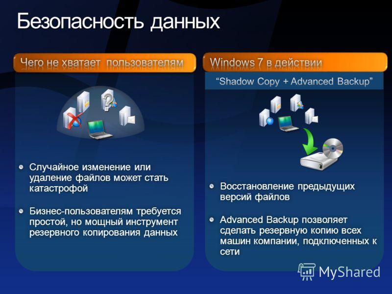 Безопасность данных Безопасность данных Восстановление предыдущих версий файлов Advanced Backup позволяет сделать резервную копию всех машин компании, подключенных к сети Случайное изменение или удаление файлов может стать катастрофой Бизнес-пользова