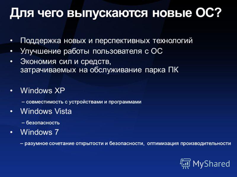 Для чего выпускаются новые ОС? Поддержка новых и перспективных технологий Улучшение работы пользователя с ОС Экономия сил и средств, затрачиваемых на обслуживание парка ПК Windows XP – совместимость с устройствами и программами Windows Vista – безопа