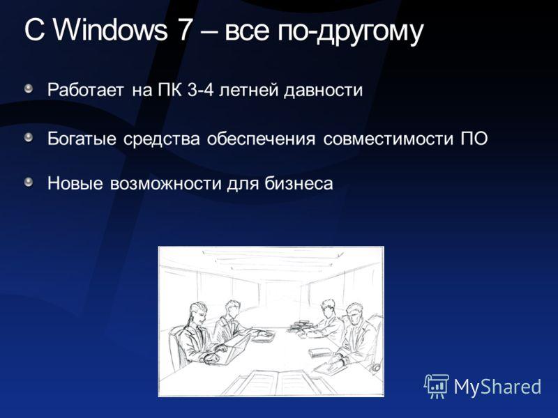 С Windows 7 – все по-другому Работает на ПК 3-4 летней давности Богатые средства обеспечения совместимости ПО Новые возможности для бизнеса