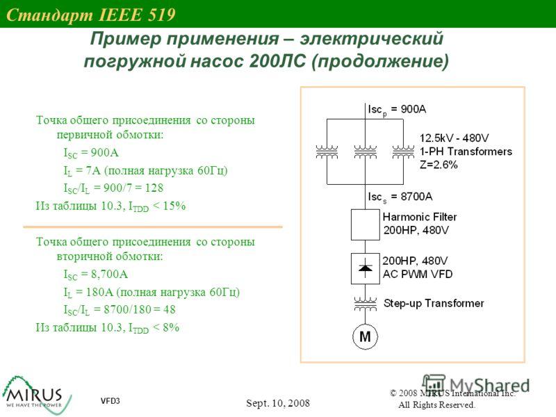 Sept. 10, 2008 27 VFD3 © 2008 MIRUS International Inc. All Rights Reserved. Пример применения – электрический погружной насос 200ЛС (продолжение) Точка общего присоединения со стороны первичной обмотки: I SC = 900A I L = 7A (полная нагрузка 60Гц) I S