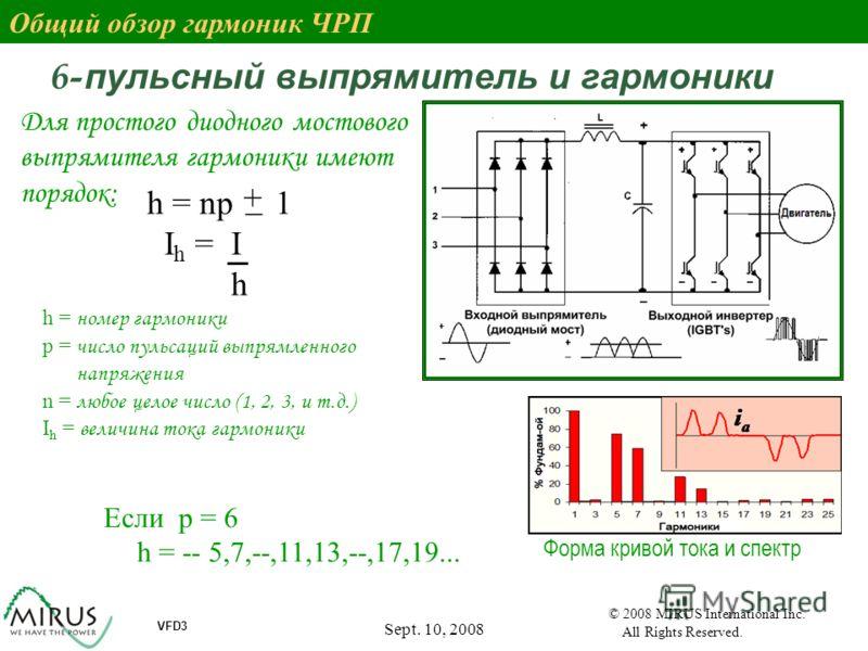Sept. 10, 2008 4 VFD3 © 2008 MIRUS International Inc. All Rights Reserved. 6- пульсный выпрямитель и гармоники h = np 1 I h = I h + _ Для простого диодного мостового выпрямителя гармоники имеют порядок: h = номер гармоники p = число пульсаций выпрямл