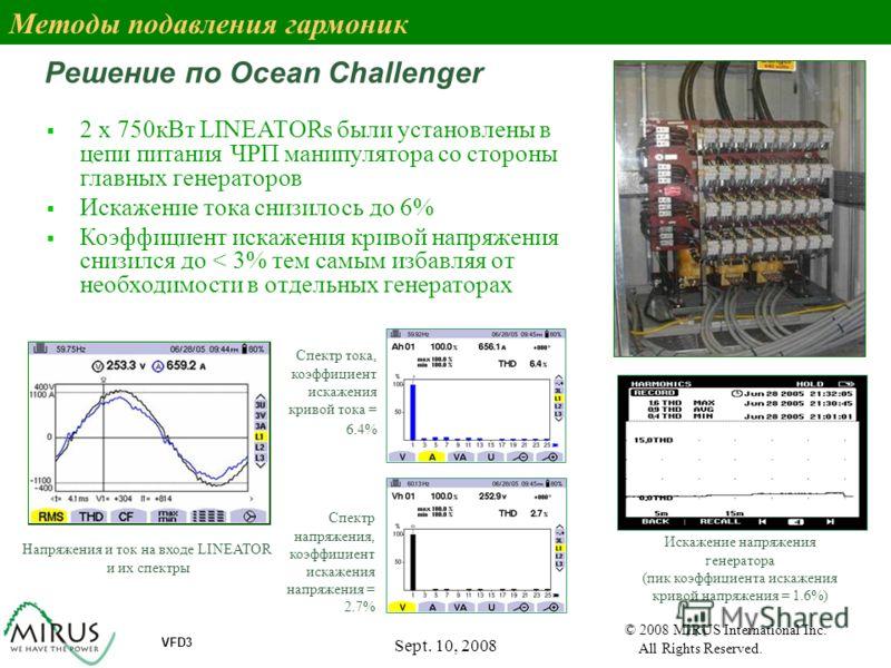 Sept. 10, 2008 54 VFD3 © 2008 MIRUS International Inc. All Rights Reserved. Решение по Ocean Challenger Напряжения и ток на входе LINEATOR и их спектры Спектр тока, коэффициент искажения кривой тока = 6.4% Спектр напряжения, коэффициент искажения нап