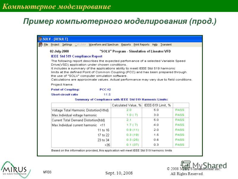 Sept. 10, 2008 69 VFD3 © 2008 MIRUS International Inc. All Rights Reserved. Пример компьютерного моделирования (прод.) Компьютерное моделирование