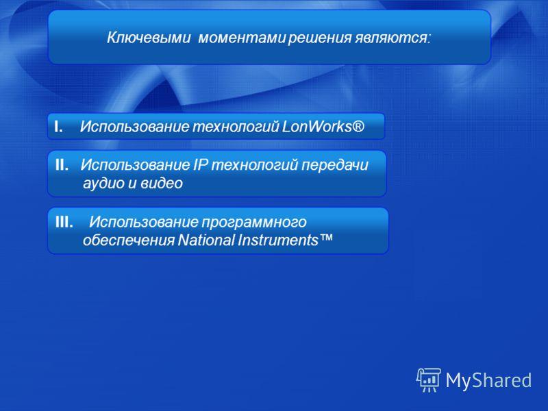 I. Использование технологий LonWorks® II. Использование IP технологий передачи аудио и видео III. Использование программного обеспечения National Instruments Ключевыми моментами решения являются: