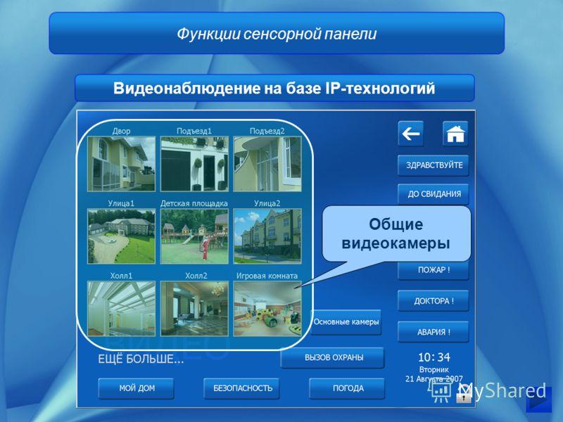 Функции сенсорной панели Видеонаблюдение на базе IP-технологий Общие видеокамеры