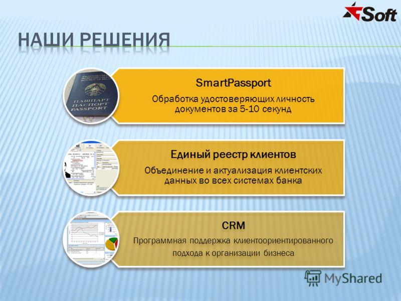 SmartPassport Обработка удостоверяющих личность документов за 5-10 секунд Единый реестр клиентов Объединение и актуализация клиентских данных во всех системах банка CRM Программная поддержка клиентоориентированного подхода к организации бизнеса