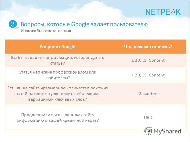 Вопросы, которые Google задает пользователю И способы ответа на них 3 Вопрос от GoogleЧто поможет ответить? Вы бы поверили информации, которая дана в статье? UBD, LSI Content Статья написана профессионалом или любителем? UBD, LSI Content Есть ли на с