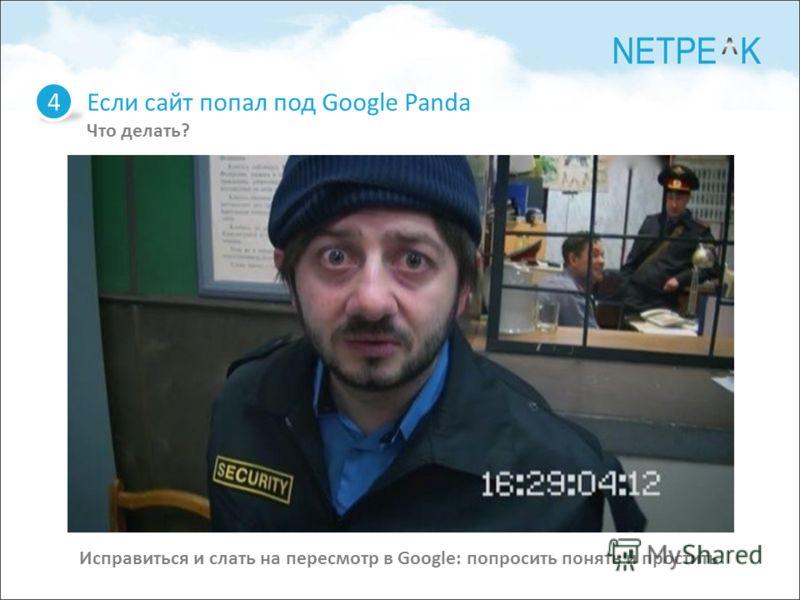 Если сайт попал под Google Panda Что делать? 4 Исправиться и слать на пересмотр в Google: попросить понять и простить