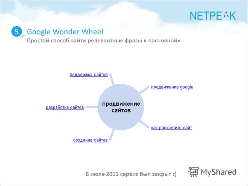Google Wonder Wheel Простой способ найти релевантные фразы к «основной» 5 В июле 2011 сервис был закрыт :(