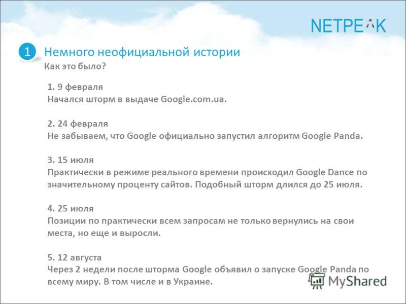 1 1. 9 февраля Начался шторм в выдаче Google.com.ua. 2. 24 февраля Не забываем, что Google официально запустил алгоритм Google Panda. 3. 15 июля Практически в режиме реального времени происходил Google Dance по значительному проценту сайтов. Подобный