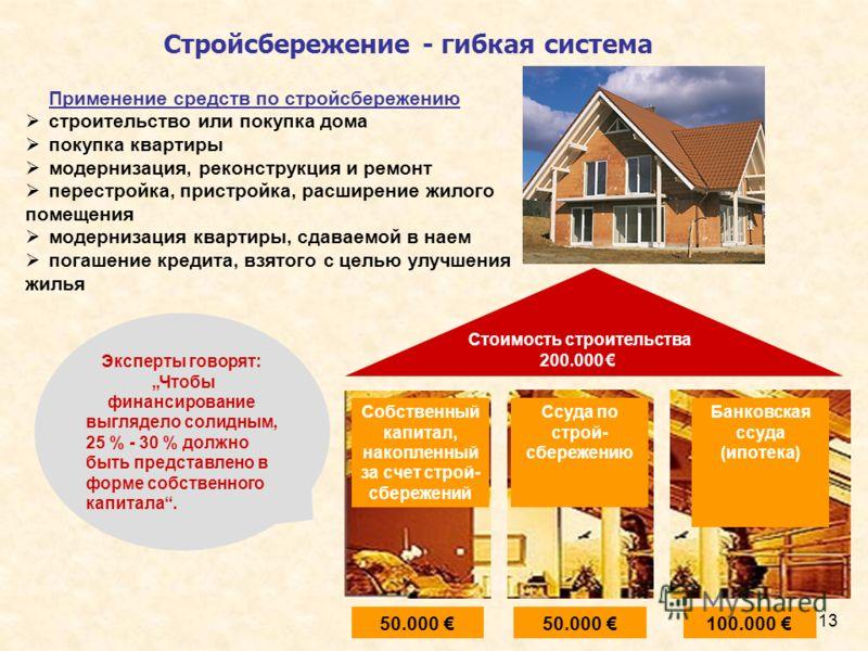 13 Стройсбережение - гибкая система Применение средств по стройсбережению строительство или покупка дома покупка квартиры модернизация, реконструкция и ремонт перестройка, пристройка, расширение жилого помещения модернизация квартиры, сдаваемой в нае