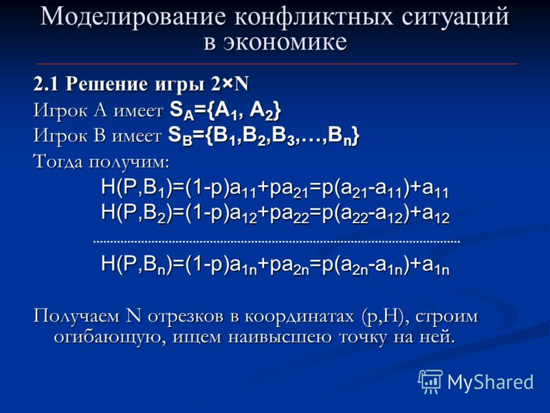 Моделирование конфликтных ситуаций в экономике 2.1 Решение игры 2×N Игрок А имеет S A ={A 1, A 2 } Игрок В имеет S B ={B 1,B 2,B 3,…,B n } Тогда получим: H(P,B 1 )=(1-p)a 11 +pa 21 =p(a 21 -a 11 )+a 11 H(P,B 2 )=(1-p)a 12 +pa 22 =p(a 22 -a 12 )+a 12