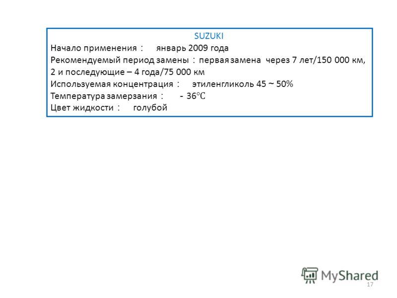 SUZUKI Начало применения январь 2009 года Рекомендуемый период замены первая замена через 7 лет/150 000 км, 2 и последующие – 4 года/75 000 км Используемая концентрация этиленгликоль 45 50% Температура замерзания 36 Цвет жидкости голубой 17