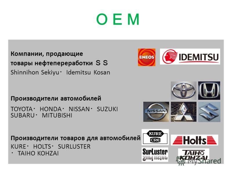 Компании, продающие товары нефтепереработки Shinnihon Sekiyu Idemitsu Kosan Производители автомобилей TOYOTA HONDA NISSAN SUZUKI SUBARU MITUBISHI Производители товаров для автомобилей KURE HOLTS SURLUSTER TAIHO KOHZAI
