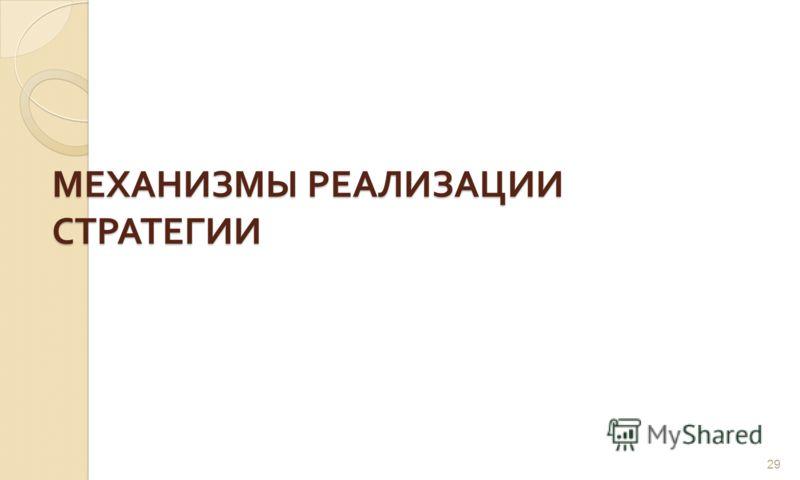 МЕХАНИЗМЫ РЕАЛИЗАЦИИ СТРАТЕГИИ 29
