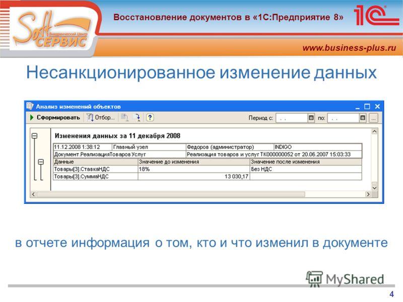 www.business-plus.ru Восстановление документов в «1С:Предприятие 8» 4 Несанкционированное изменение данных в отчете информация о том, кто и что изменил в документе