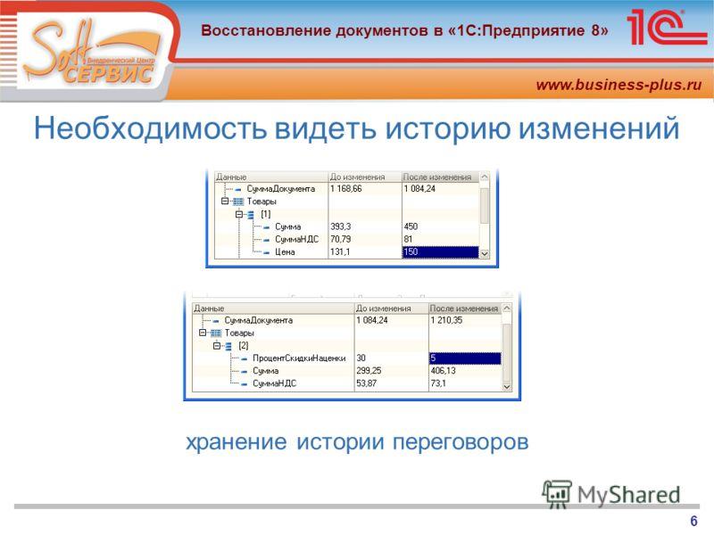 www.business-plus.ru Восстановление документов в «1С:Предприятие 8» 6 Необходимость видеть историю изменений хранение истории переговоров