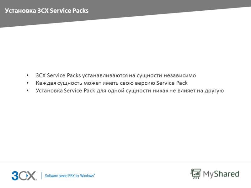Установка 3CX Service Packs 3CX Service Packs устанавливаются на сущности независимо Каждая сущность может иметь свою версию Service Pack Установка Service Pack для одной сущности никак не влияет на другую