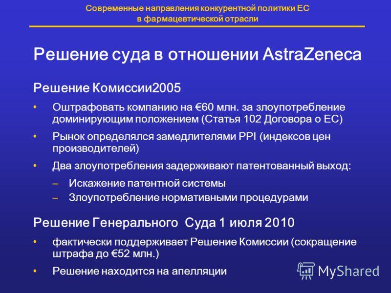 Современные направления конкурентной политики ЕС в фармацевтической отрасли Решение суда в отношении AstraZeneca Решение Комиссии2005 Оштрафовать компанию на 60 млн. за злоупотребление доминирующим положением (Статья 102 Договора о ЕС) Рынок определя