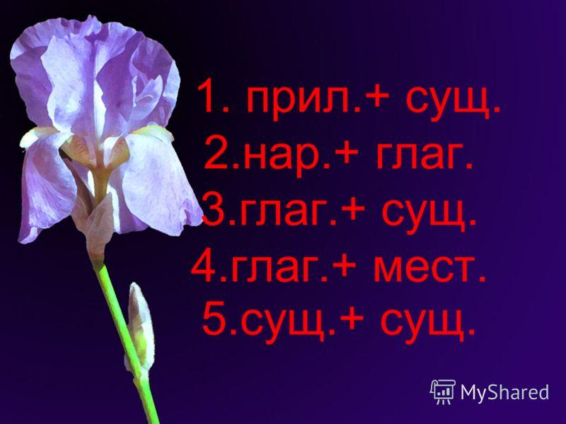 1. прил.+ сущ. 2.нар.+ глаг. 3.глаг.+ сущ. 4.глаг.+ мест. 5.сущ.+ сущ.
