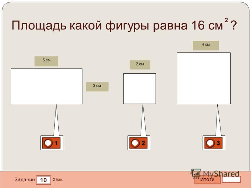 Итоги 10 Задание 2 бал. 1111 2222 3333 Площадь какой фигуры равна 16 см ? 3 см 5 см 2 см 4 см 2