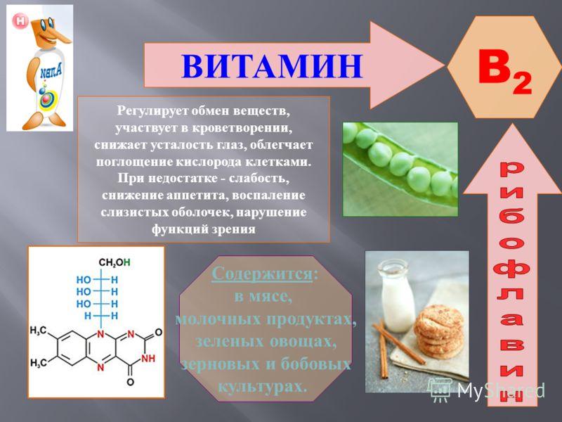 ВИТАМИН B1B1 Участвует в обмене веществ, регулирует циркуляцию крови и кроветворение, работу гладкой мускулатуры, активизирует работу мозга. При недостатке - заболевание Бери - бери ( поражение нервной системы, отставание в росте, слабость и паралич