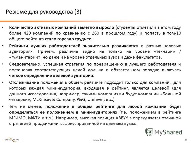 www.fut.ru 13 Резюме для руководства (3) Количество активных компаний заметно выросло (студенты отметили в этом году более 420 компаний по сравнению с 260 в прошлом году) и попасть в том-10 общего рейтинга стало гораздо труднее. Рейтинги лучших работ