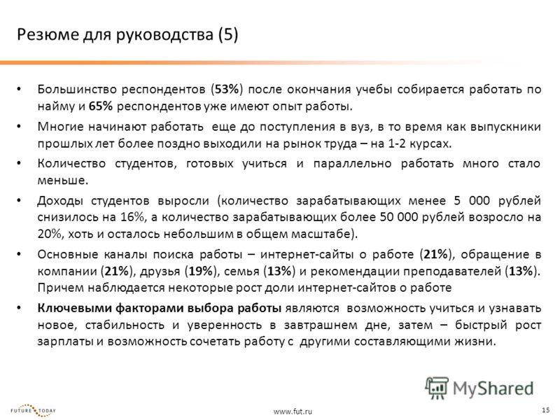 www.fut.ru 15 Резюме для руководства (5) Большинство респондентов (53%) после окончания учебы собирается работать по найму и 65% респондентов уже имеют опыт работы. Многие начинают работать еще до поступления в вуз, в то время как выпускники прошлых