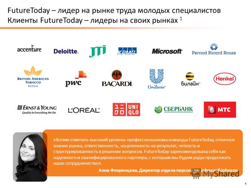 www.fut.ru 4 FutureToday – лидер на рынке труда молодых специалистов Клиенты FutureToday – лидеры на своих рынках 1 «Хотим отметить высокий уровень профессионализма команды FutureToday, отличное знание рынка, ответственность, нацеленность на результа