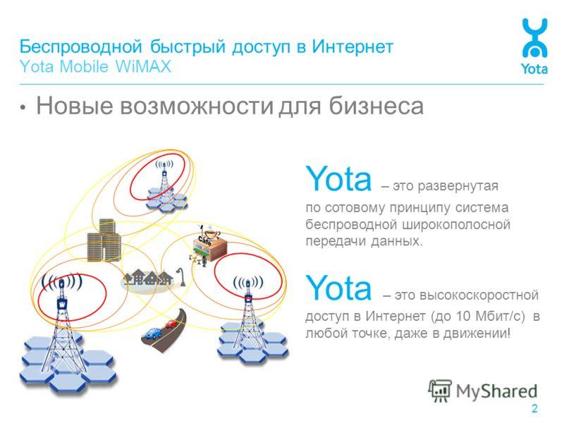 Беспроводной быстрый доступ в Интернет Yota Mobile WiMAX Новые возможности для бизнеса 2 Yota – это развернутая по сотовому принципу система беспроводной широкополосной передачи данных. Yota – это высокоскоростной доступ в Интернет (до 10 Мбит/с) в л