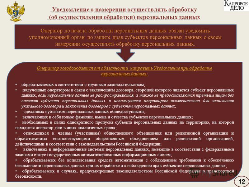 Уведомление о намерении осуществлять обработку (об осуществлении обработки) персональных данных Оператор освобождается от обязанности направить Уведомление при обработке персональных данных: обрабатываемых в соответствии с трудовым законодательством;