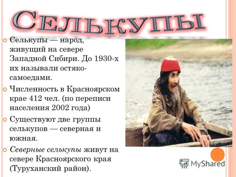 Селькупы народ, живущий на севере Западной Сибири. До 1930-х их называли остяко- самоедами. Численность в Красноярском крае 412 чел. (по переписи населения 2002 года) Существуют две группы селькупов северная и южная. Северные селькупы живут на севере