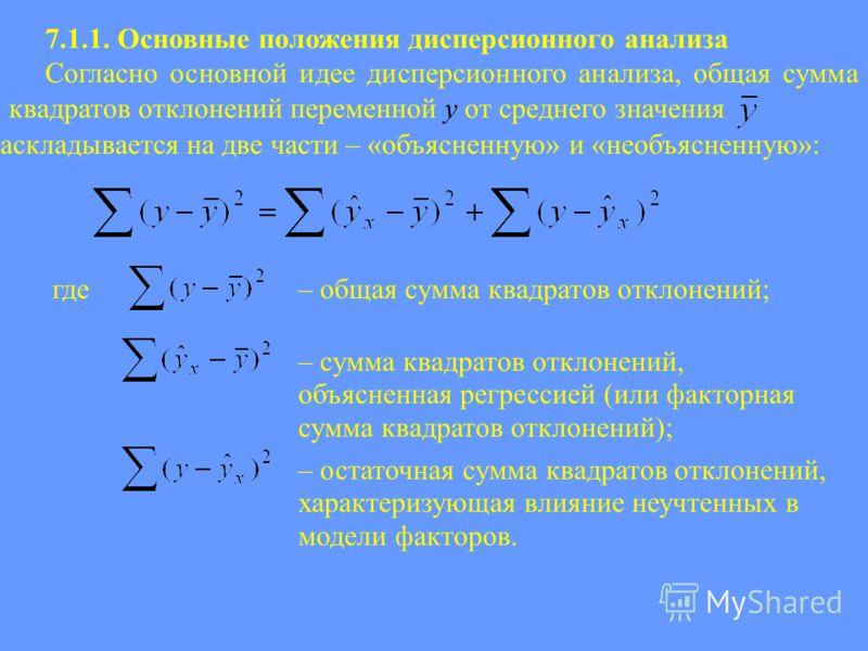 7.1.1. Основные положения дисперсионного анализа Согласно основной идее дисперсионного анализа, общая сумма квадратов отклонений переменной y от среднего значения раскладывается на две части – «объясненную» и «необъясненную»: где– общая сумма квадрат