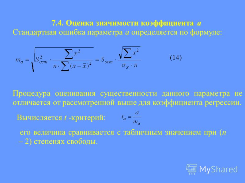 7.4. Оценка значимости коэффициента а Стандартная ошибка параметра a определяется по формуле: (14) Процедура оценивания существенности данного параметра не отличается от рассмотренной выше для коэффициента регрессии. Вычисляется t -критерий: его вели