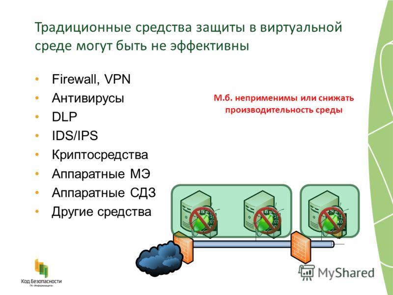 Традиционные средства защиты в виртуальной среде могут быть не эффективны Firewall, VPN Антивирусы DLP IDS/IPS Криптосредства Аппаратные МЭ Аппаратные СДЗ Другие средства М.б. неприменимы или снижать производительность среды