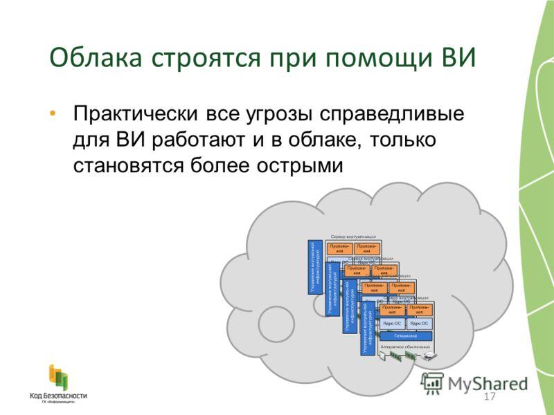 Облака строятся при помощи ВИ Практически все угрозы справедливые для ВИ работают и в облаке, только становятся более острыми 17