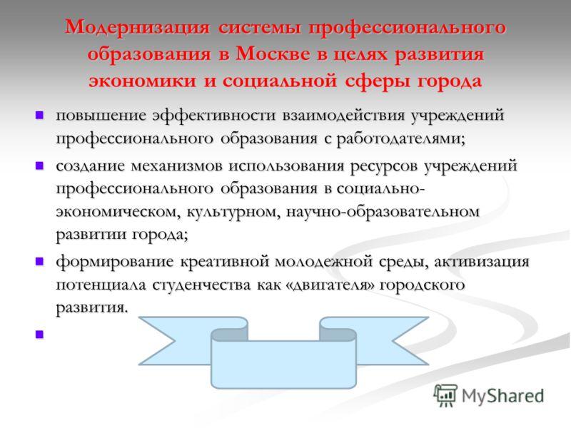 Модернизация системы профессионального образования в Москве в целях развития экономики и социальной сферы города повышение эффективности взаимодействия учреждений профессионального образования с работодателями; повышение эффективности взаимодействия